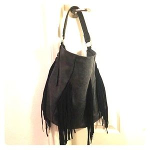 Handbags - Black/Gray Purse with Fringes